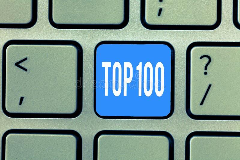 词文字文本名列前茅100 最佳的产品名单的企业概念为普遍的畅销书优质高速率服务 免版税库存照片