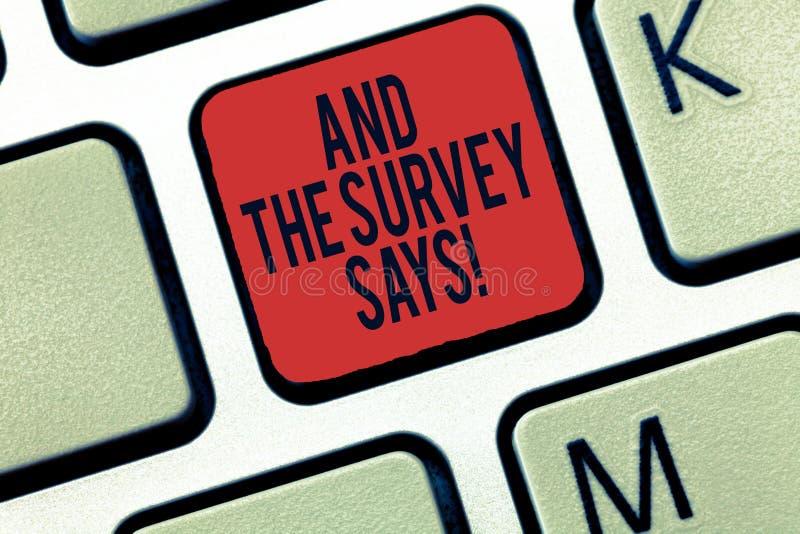 词文字文本和勘测说 沟通的民意测验的结果的企业概念显示反馈键盘 图库摄影