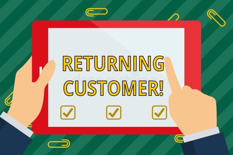 词文字文本回来的顾客 购买再次顾客的回归的企业概念一只好手 皇族释放例证