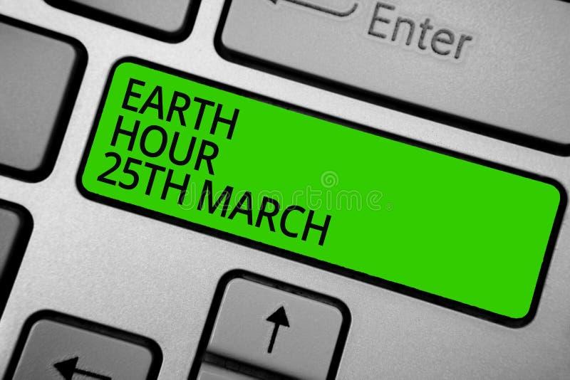 词文字文本地球小时3月25日 标志承诺的企业概念对行星组织了全世界资金键盘绿色 库存例证