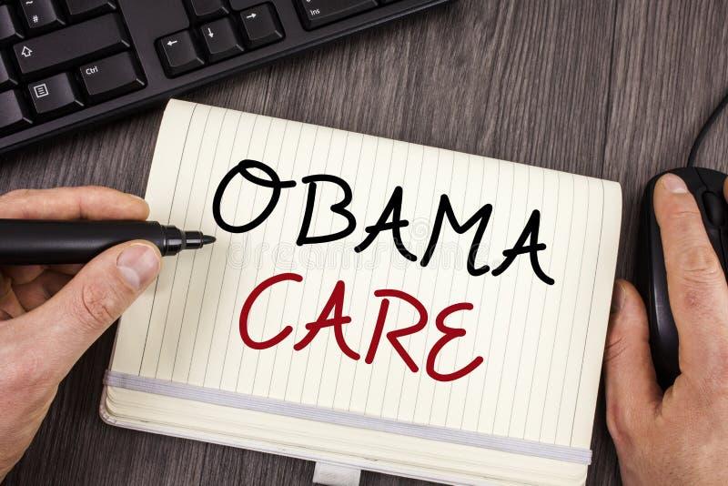 词文字文本奥巴马关心 保险系统患者保护政府项目的企业概念  免版税库存图片