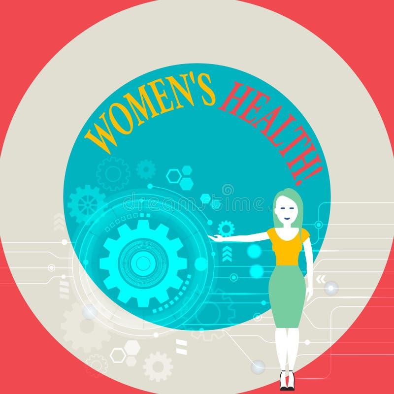 词文字文本妇女S健康 慢性疾病条件的企业概念作为心脏疾患癌症糖尿病 向量例证