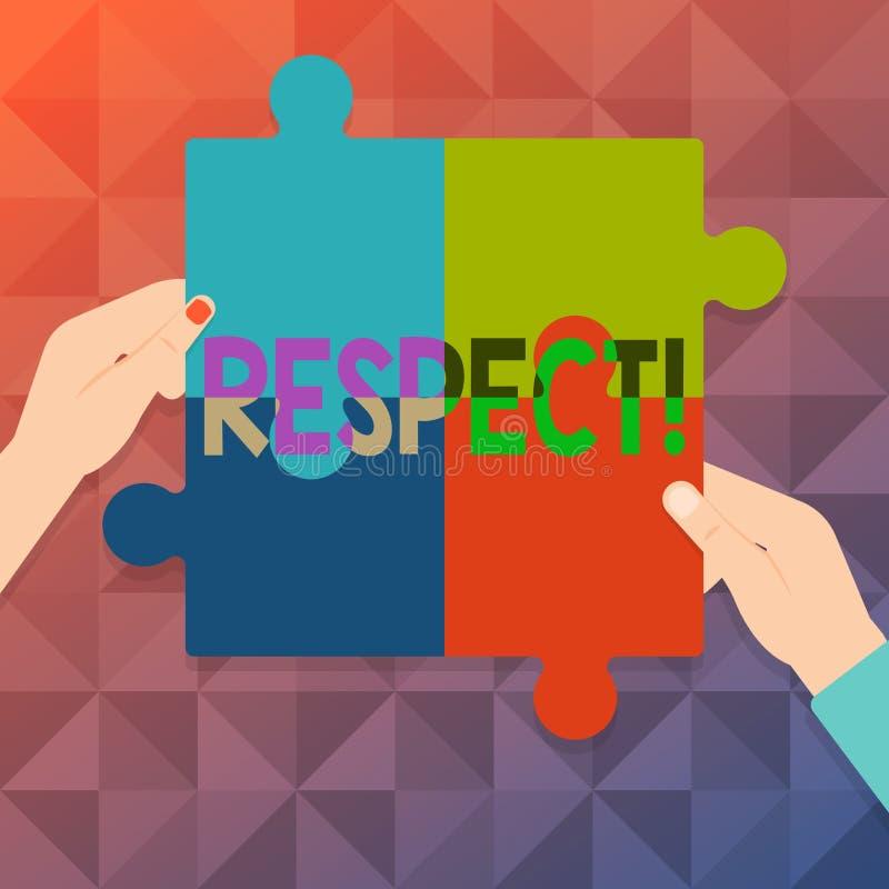 词文字文本尊敬 感觉的企业概念对某人或某事的深刻的倾慕欣赏四 向量例证