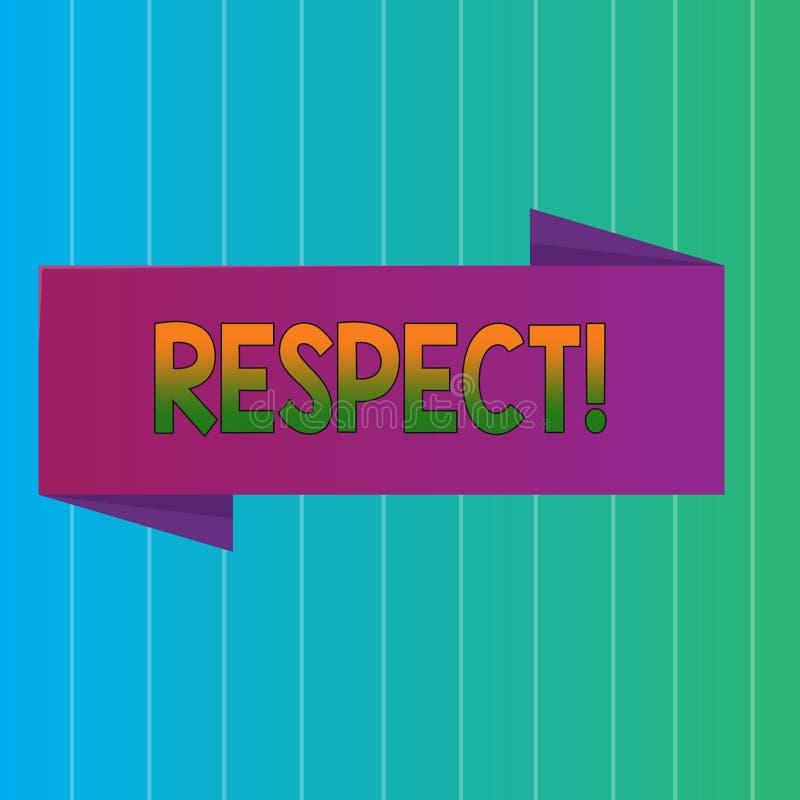 词文字文本尊敬 感觉的企业概念对某人或某事的深刻的倾慕欣赏空白 库存例证