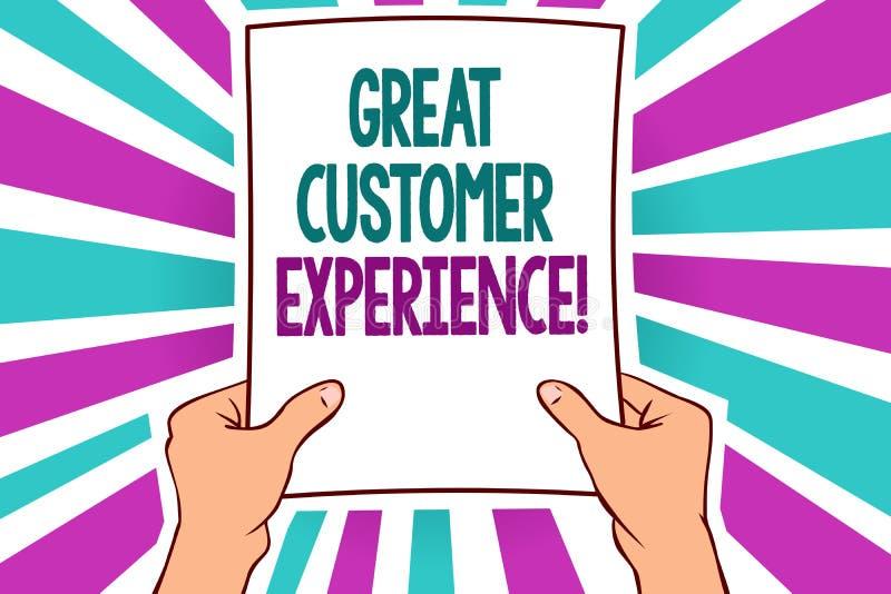词文字文本巨大顾客经验 反应的企业概念有拿着pape的友好的有用的方式人的客户 向量例证
