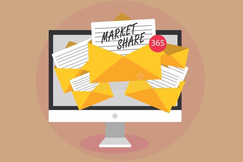 词文字文本市场份额 一特殊公司计算机接受控制的市场的部分的企业概念 向量例证