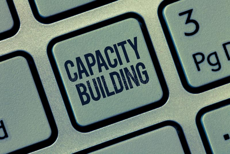 词文字文本建筑物容纳力 Strengthen的企业概念个体劳工计划的能力 免版税库存图片