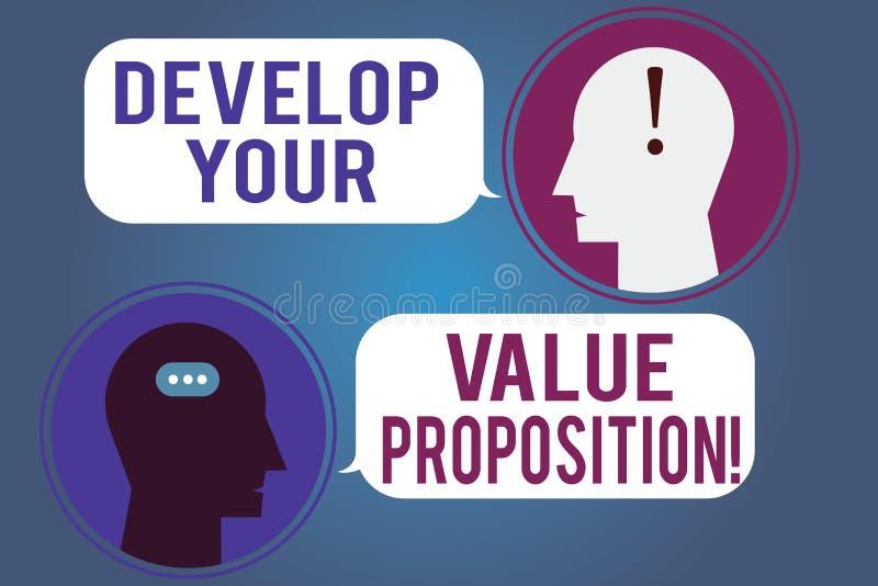 词文字文本开发您的价值提议 Prepare营销策略销售摊点信使的企业概念 库存例证