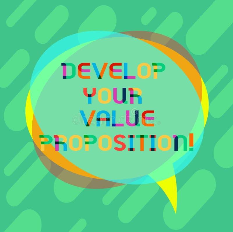 词文字文本开发您的价值提议 Prepare营销策略销售摊点空白的企业概念 皇族释放例证