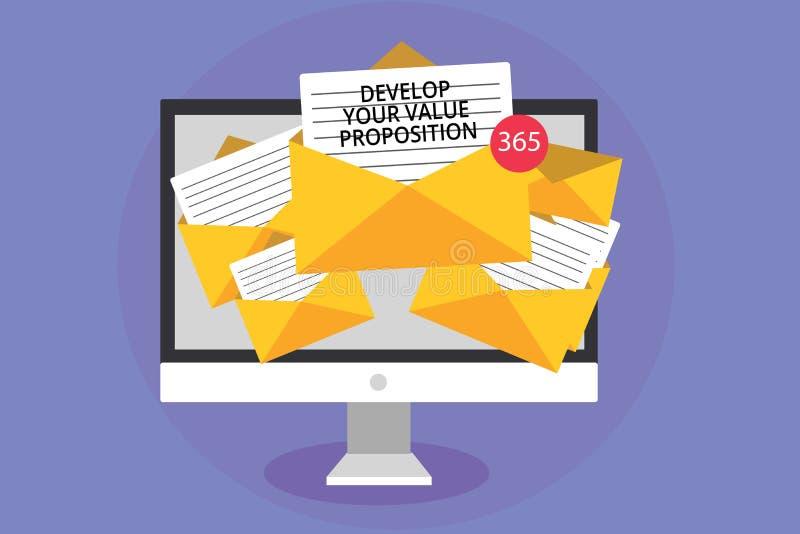 词文字文本开发您的价值提议 Prepare销售方针接受e的销售摊点计算机的企业概念 库存例证