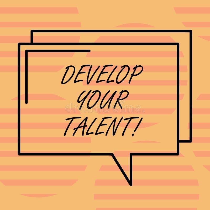 词文字文本开发您的天分 企业概念为改进自然才能或技巧用努力和时间 向量例证