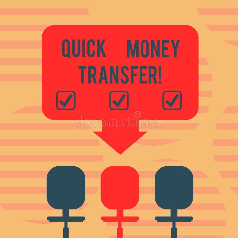 词文字文本快的汇款 捷径的企业概念能电子上或完全移动金钱空格颜色 库存例证