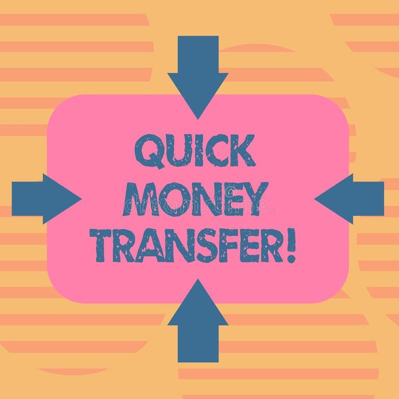 词文字文本快的汇款 捷径的企业概念能电子上或完全移动金钱箭头 皇族释放例证