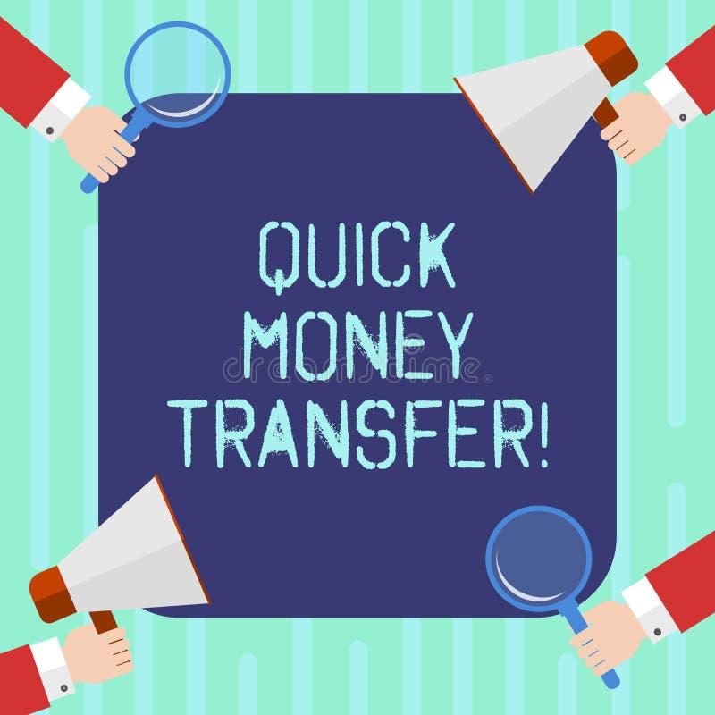 词文字文本快的汇款 捷径的企业概念能电子上或完全移动金钱胡分析手 向量例证
