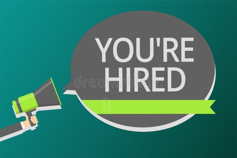 词文字文本您关于雇用 新的工作拿着扩音机的被雇用的新手征的被接受的被吸收的人的企业概念 向量例证