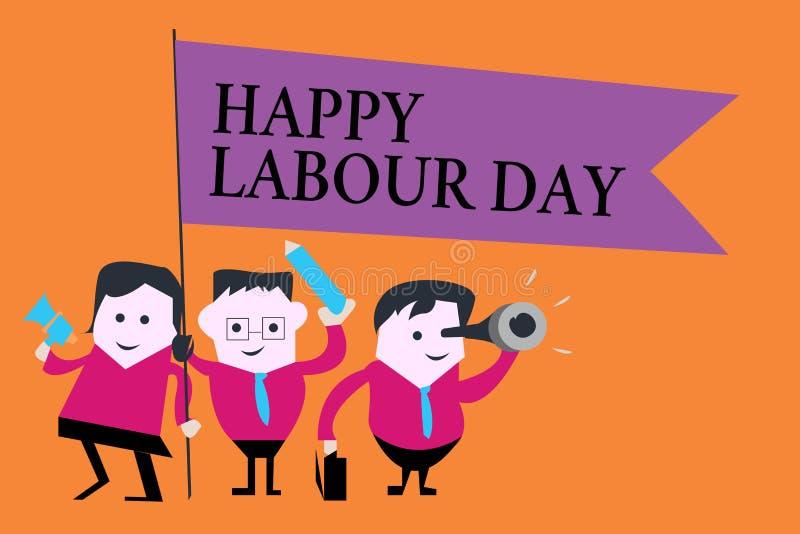 词文字文本愉快的劳动节 企业概念为了例假能庆祝工作者的成就 库存例证