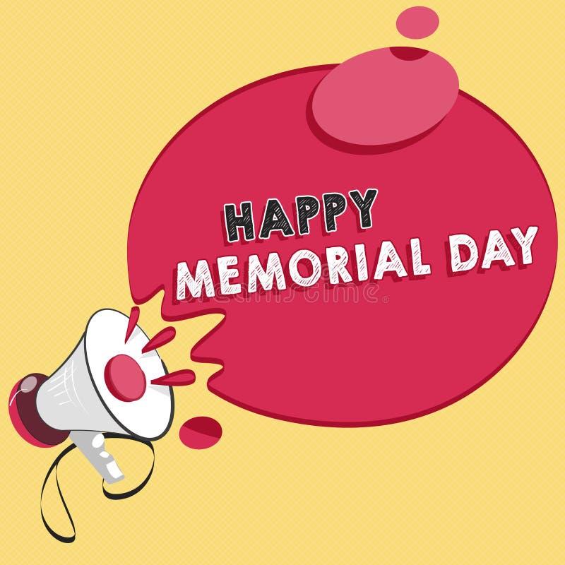 词文字文本愉快的阵亡将士纪念日 尊敬的企业概念记住在兵役死的那些人 向量例证