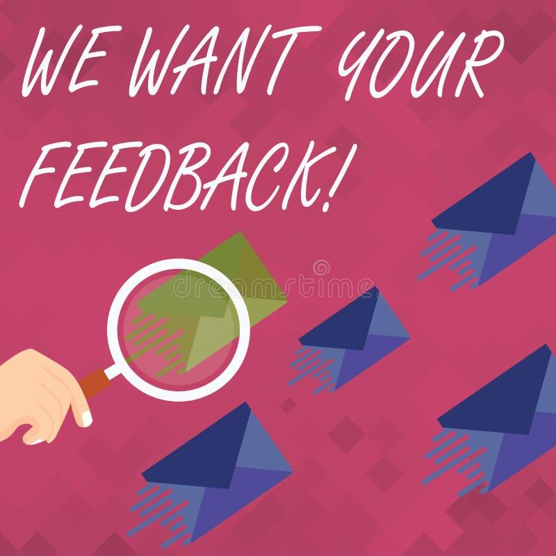 词文字文本我们想要您的反馈 指定的批评的企业概念某人说可以为改善做 皇族释放例证