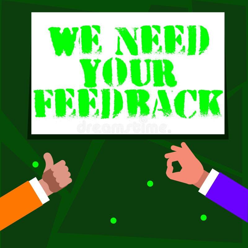 词文字文本我们需要您的反馈 批评的企业概念指定说可以是完成的改善两 库存例证