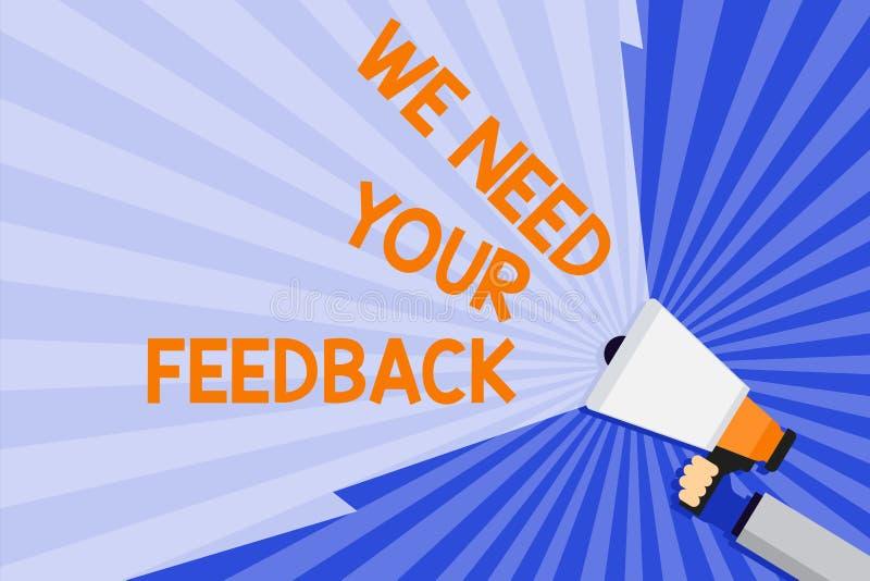 词文字文本我们需要您的反馈 批评的企业概念指定说可以是完成的改善手 向量例证