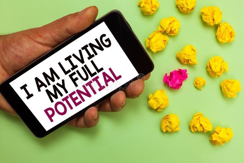 词文字文本我居住我的潜能 接受的机会企业概念使用技能能力人 免版税图库摄影