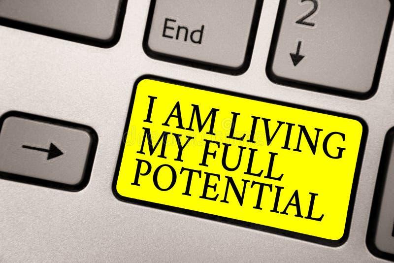 词文字文本我居住我的潜能 接受的机会企业概念使用技能能力灰色银色 库存照片