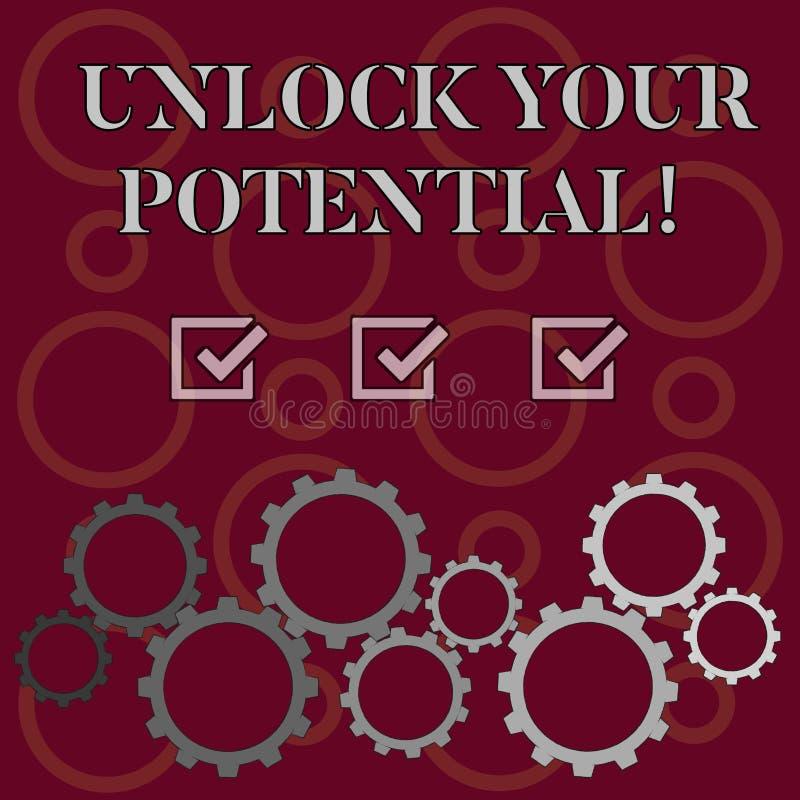 词文字文本打开您的潜力 发行可能性教育和训练的企业概念是钥匙 库存例证