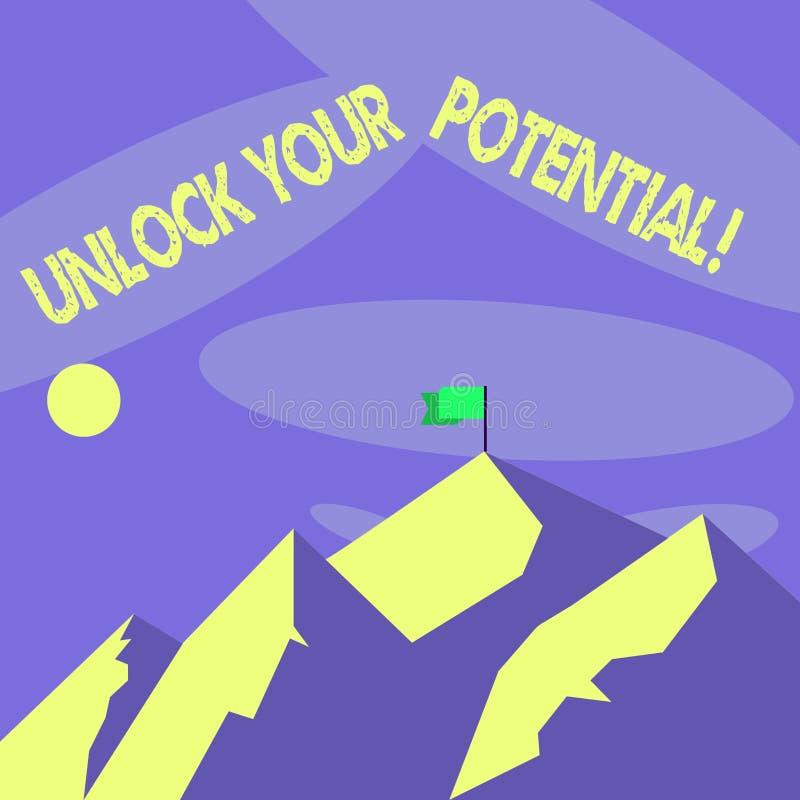 词文字文本打开您的潜力 发行可能性教育和训练的企业概念是钥匙 皇族释放例证