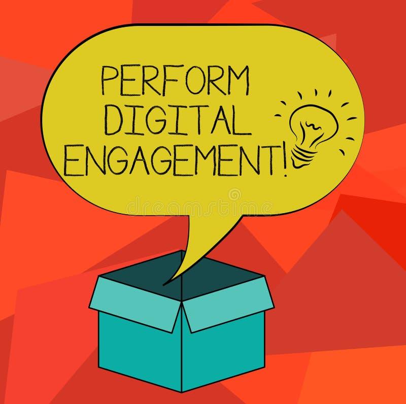 词文字文本执行数字订婚 企业概念为对由一个公司组织想法的社会媒介的使用 库存例证