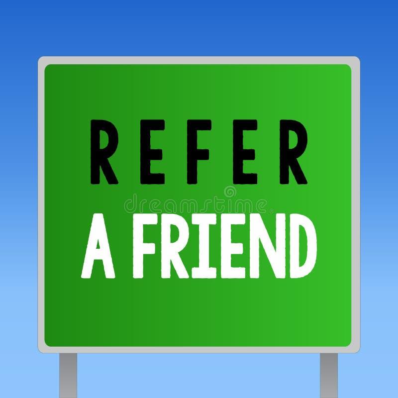 词文字文本提到一个朋友 推荐的企业概念任命在任务合格的某人 库存例证