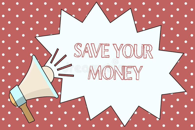 词文字文本救球您的金钱 企业概念为在银行保留您的储款或保护它的股票不浪费 皇族释放例证