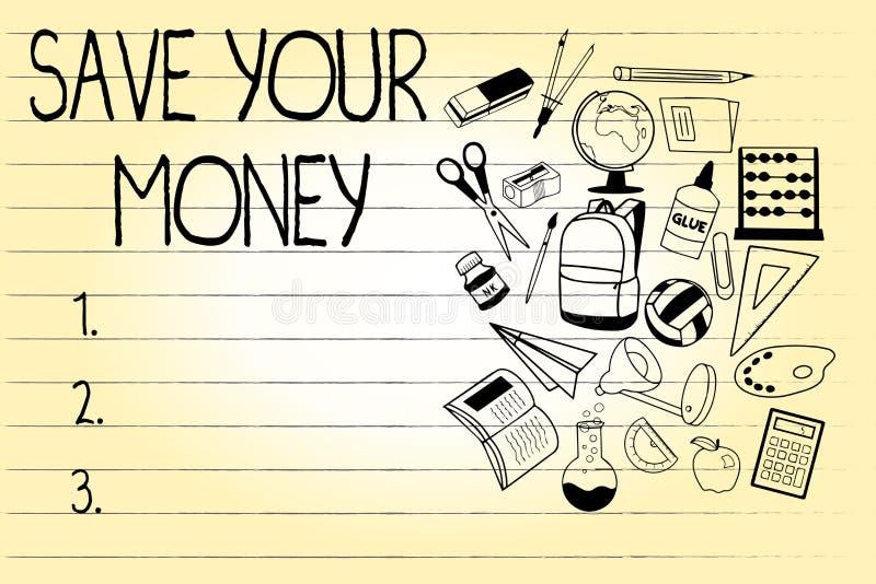 词文字文本救球您的金钱 企业概念为在银行保留您的储款或保护它的股票不浪费 向量例证