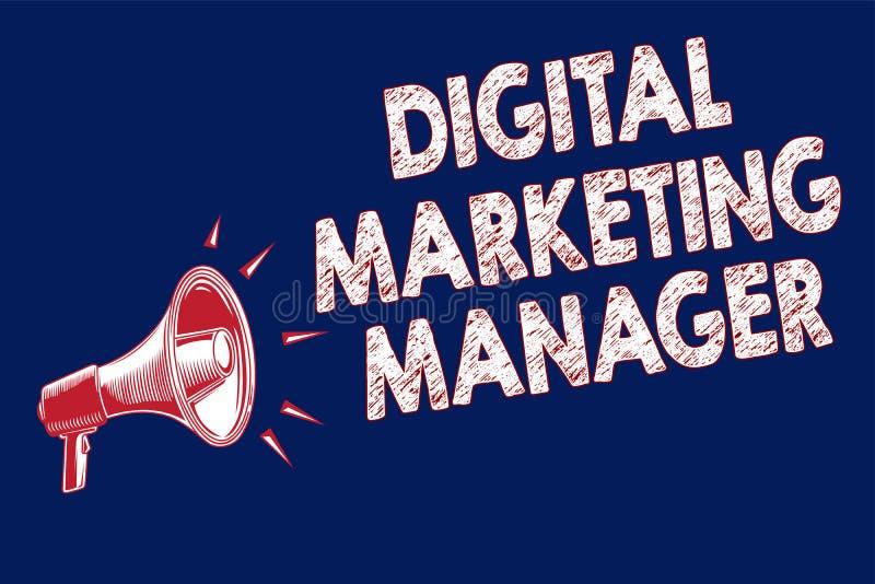 词文字文本数字式销售经理 优选的企业概念为大声张贴在网上委员会或事业扩音机 免版税库存照片