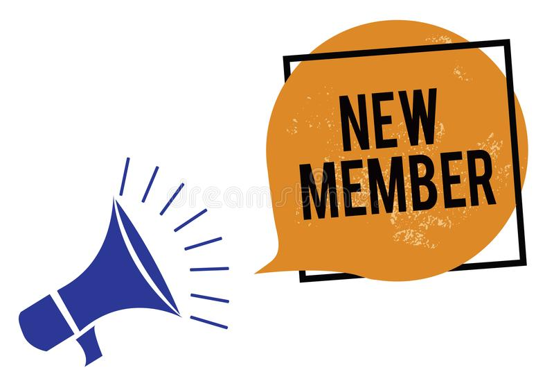 词文字文本新的成员 吸收的雇员的企业概念新儿童扩音机loudspeak公司或队诞生的  向量例证