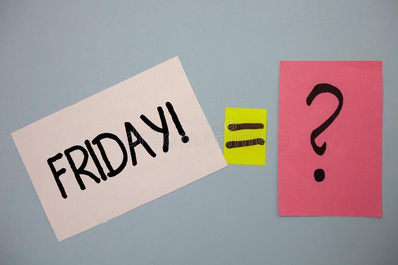 词文字文本星期五诱导电话 企业概念为最后天工作周起动周末放松时间想法消息 免版税库存照片