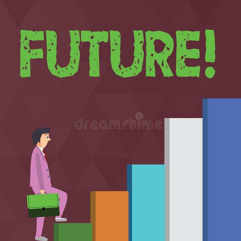 词文字文本未来 企业概念在跟随将发生的现在事件的时段 皇族释放例证