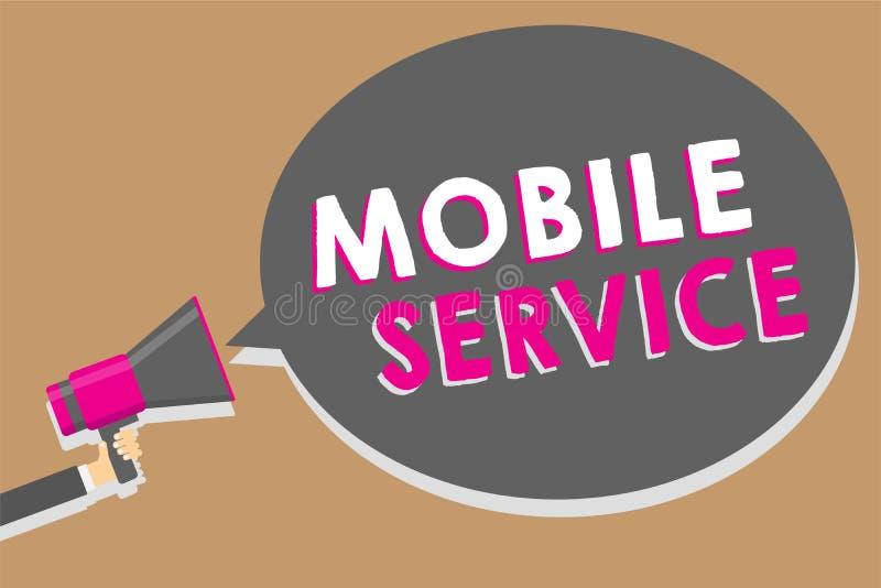 词文字文本机动性服务 无线通信公共事业的企业概念在机动性和地面站之间供以人员拿着我 向量例证