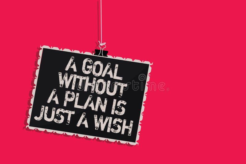 词文字文本没有计划的一个目标是愿望 Make战略的企业概念能到达宗旨垂悬blackboar 向量例证