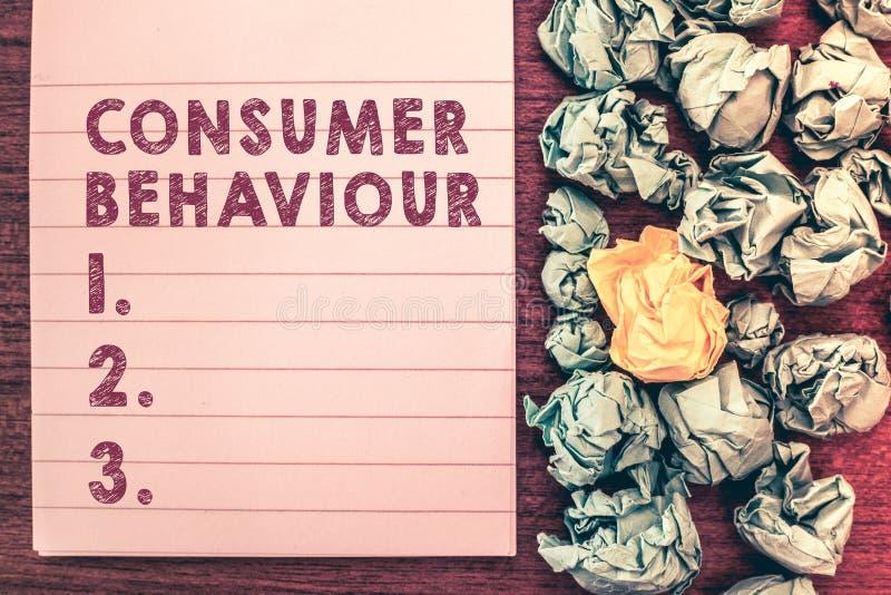 词文字文本消费者行为 人们做出买或不买产品的决定的企业概念 图库摄影