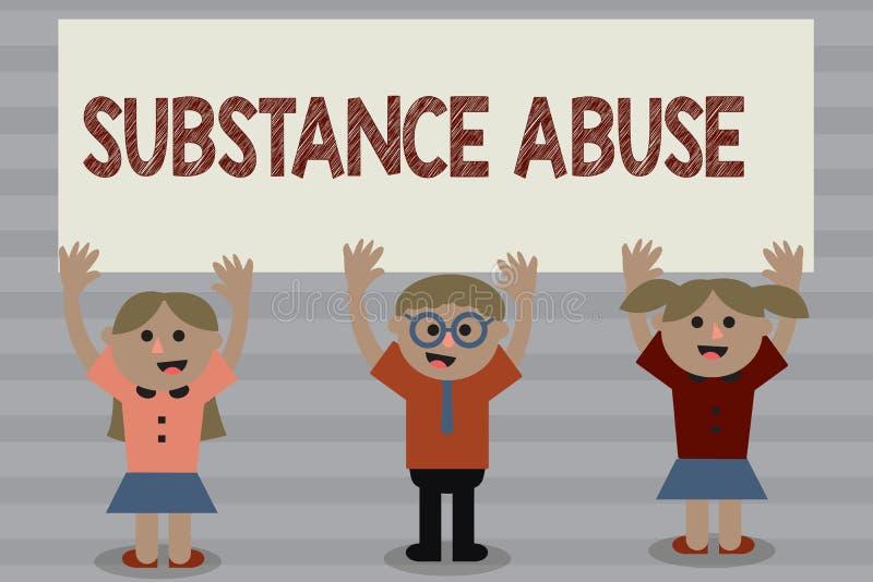 词文字文本滥用毒品 企业概念为对物质酒精或特别是药物的过份使用 库存例证
