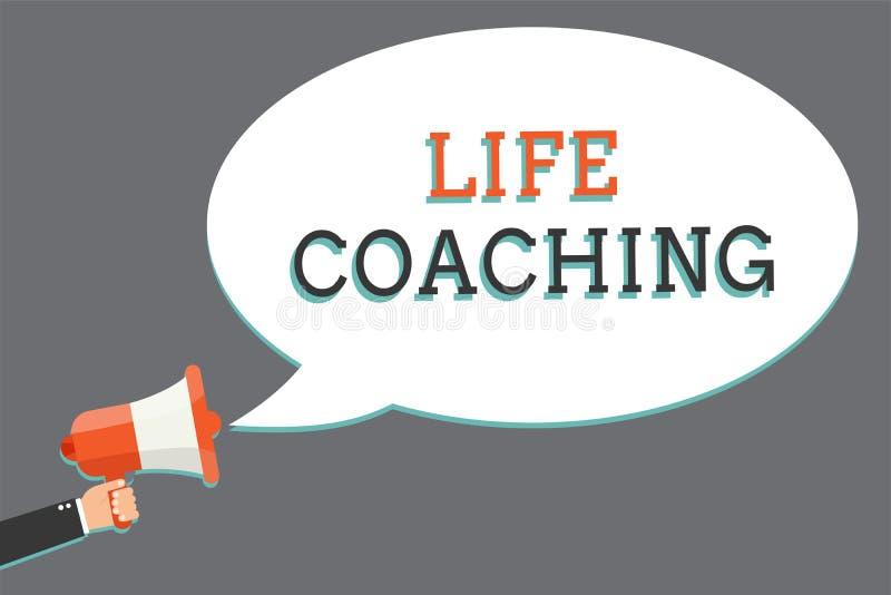 词文字文本生活教练 企业概念由挑战的Improve生活鼓励我们在我们的举行megapho的专业人员 库存例证