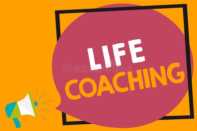 词文字文本生活教练 企业概念由挑战的Improve生活鼓励我们在我们的事业扩音机loudspeak 向量例证