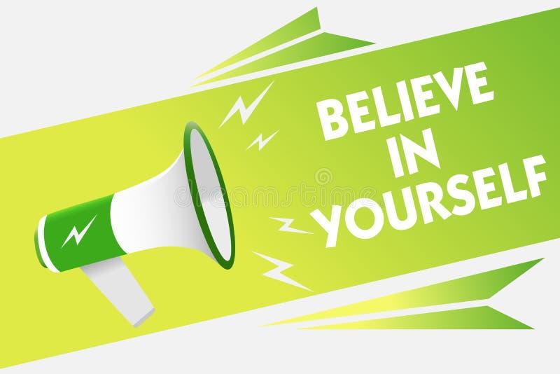 词文字文本相信你自己 鼓励的某人企业概念自信刺激警告行情的消息s 向量例证