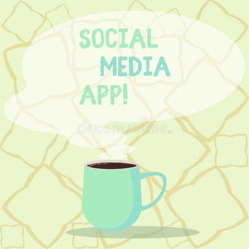 词文字文本社会媒介应用程序 创作和分享的想法事业兴趣企业概念通过互联网杯子 皇族释放例证