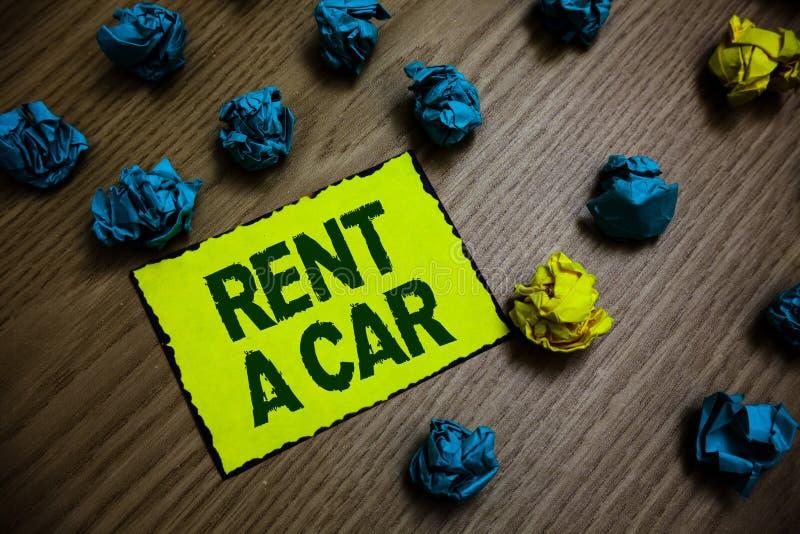 词文字文本租汽车 支付的企业概念临时车用法从一天到几个月黄色片断纸关于 库存图片