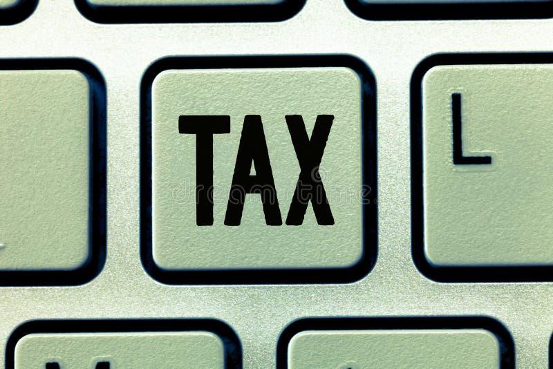 词文字文本税 强制的贡献的企业概念能陈述收支征收由政府强加 库存照片