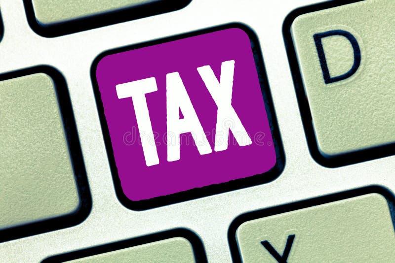 词文字文本税 强制的贡献的企业概念能陈述收支征收由政府强加 免版税库存图片