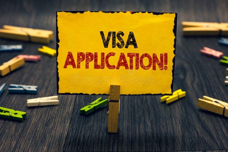 词文字文本签证申请 形式的企业概念能要求允许旅行或生活在另一个国家Blacky 图库摄影