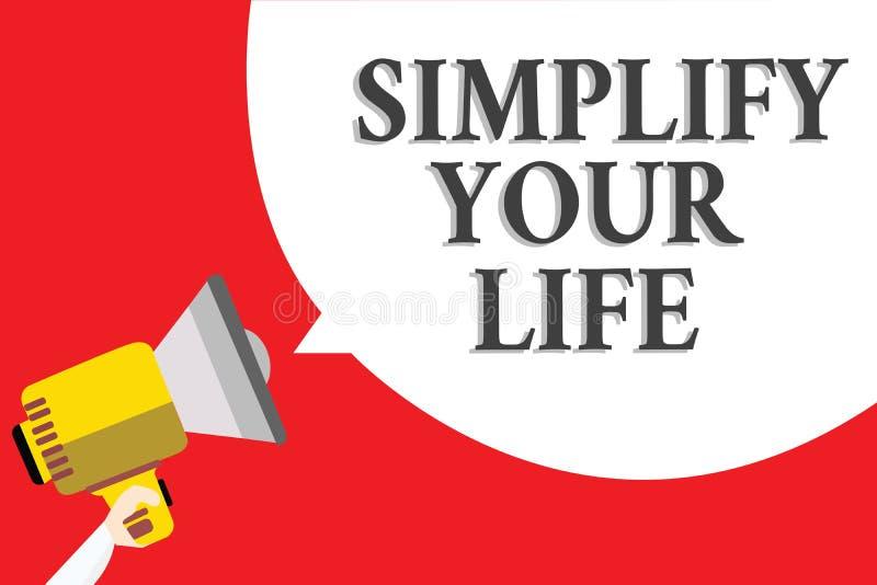 词文字文本简化您的生活 Manage的企业概念您的天工作采取容易的方法组织公告报告人sc 皇族释放例证