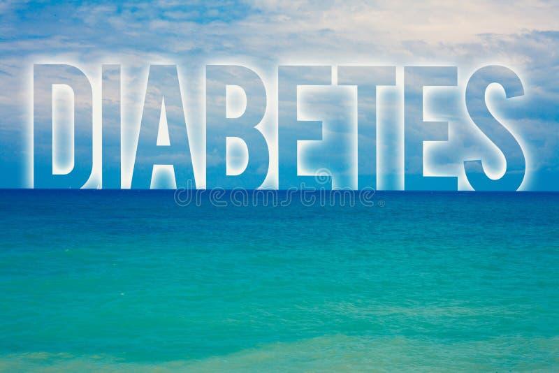 词文字文本糖尿病 慢性病的企业概念联合对糖葡萄糖高水平在血液蓝色海滩wa的 库存照片